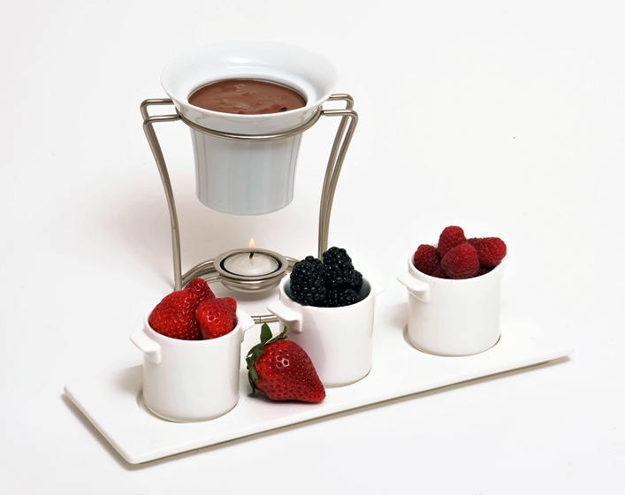 Fondue au chocolat et à la confiture